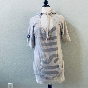 harajuku lovers gray long hooded sweatshirt dress